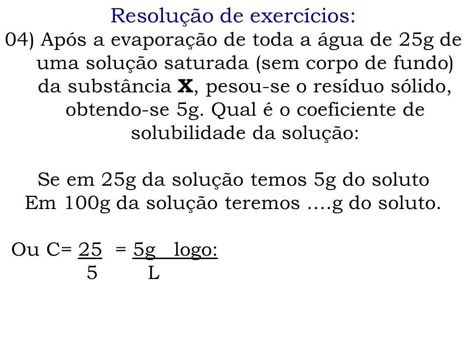 Resolução de exercícios: 04) Após a evaporação de toda a água de 25g de uma solução saturada (sem corpo de fundo) da substância X, pesou-se o resíduo