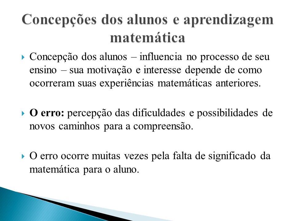  Concepção dos alunos – influencia no processo de seu ensino – sua motivação e interesse depende de como ocorreram suas experiências matemáticas anteriores.