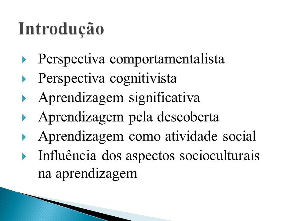  Perspectiva comportamentalista  Perspectiva cognitivista  Aprendizagem significativa  Aprendizagem pela descoberta  Aprendizagem como atividade social  Influência dos aspectos socioculturais na aprendizagem