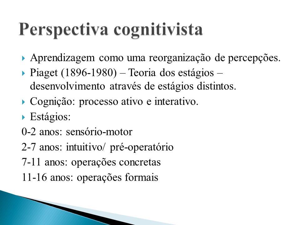  Aprendizagem como uma reorganização de percepções.