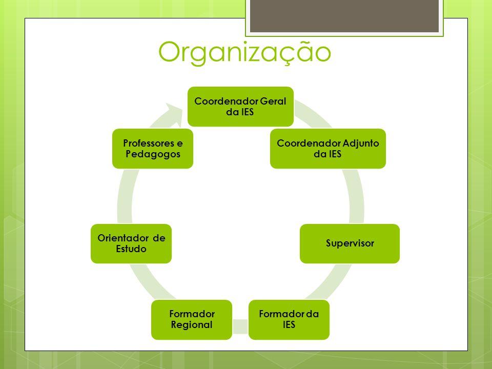 Organização Coordenador Geral da IES Coordenador Adjunto da IES Supervisor Formador da IES Formador Regional Orientador de Estudo Professores e Pedagogos