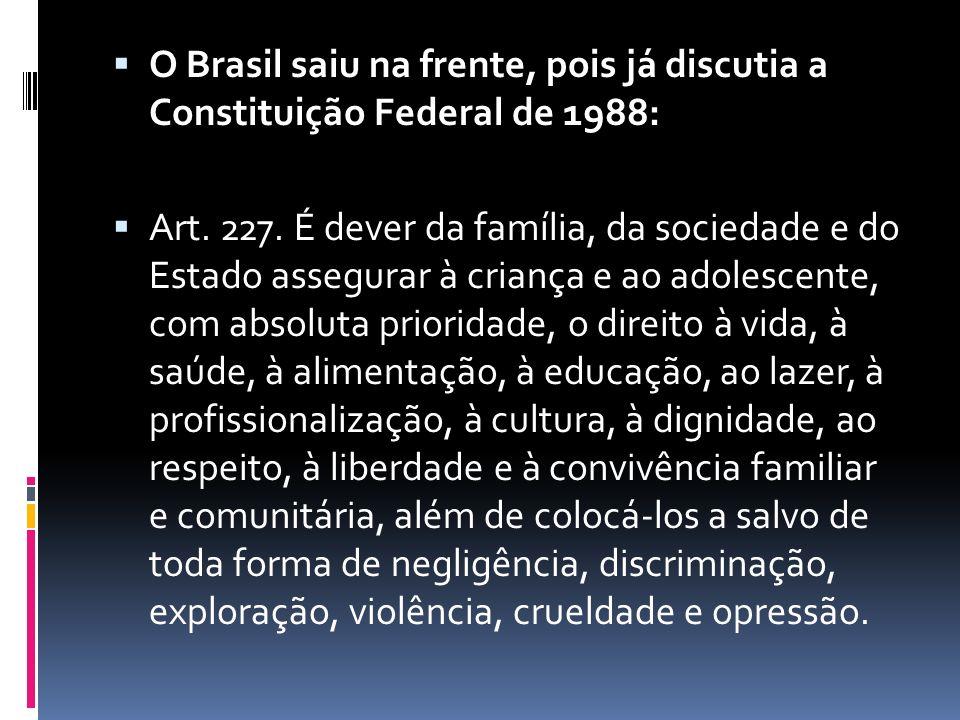  O Brasil saiu na frente, pois já discutia a Constituição Federal de 1988:  Art.