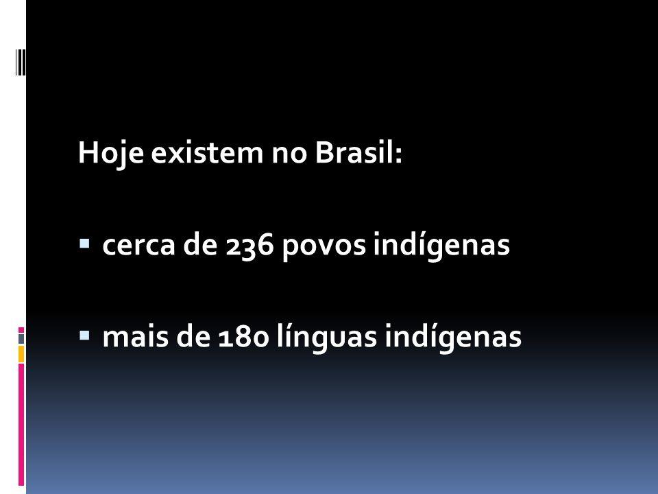Hoje existem no Brasil:  cerca de 236 povos indígenas  mais de 180 línguas indígenas
