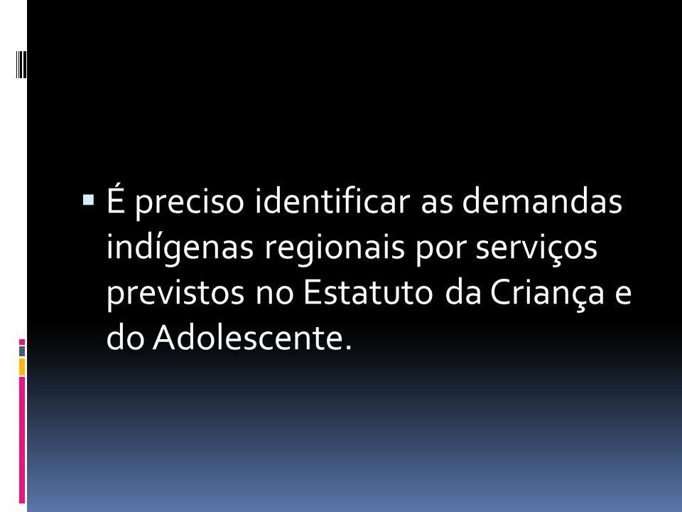  É preciso identificar as demandas indígenas regionais por serviços previstos no Estatuto da Criança e do Adolescente.