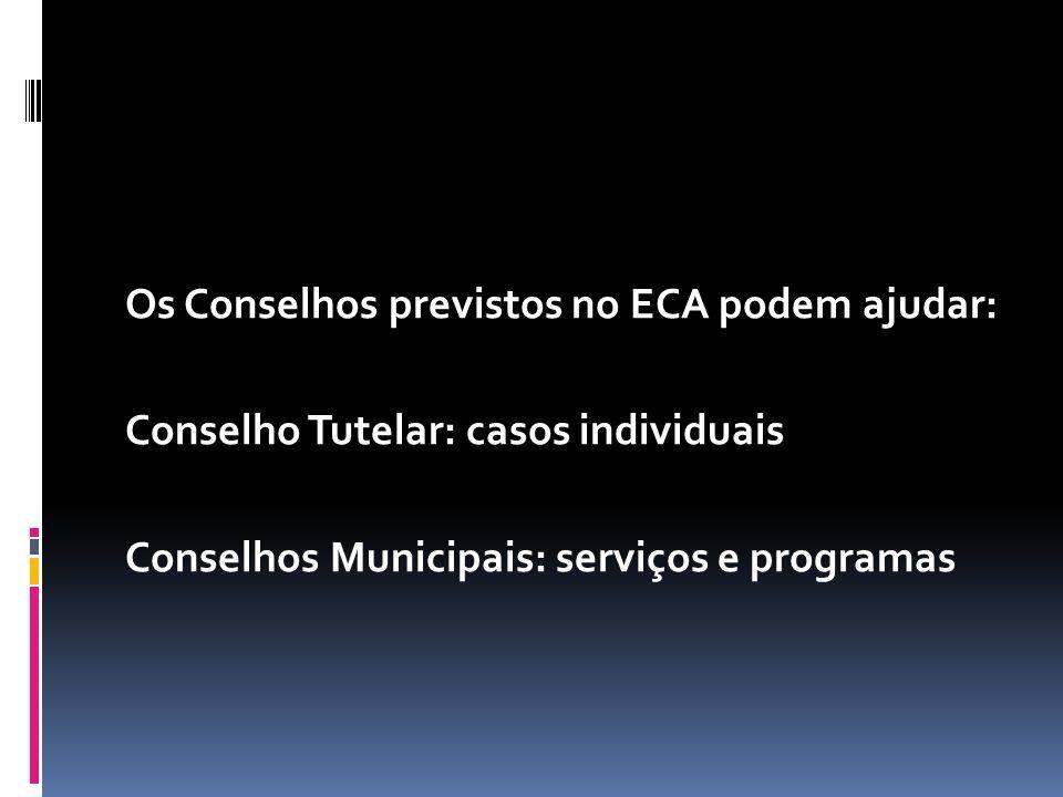 Os Conselhos previstos no ECA podem ajudar: Conselho Tutelar: casos individuais Conselhos Municipais: serviços e programas