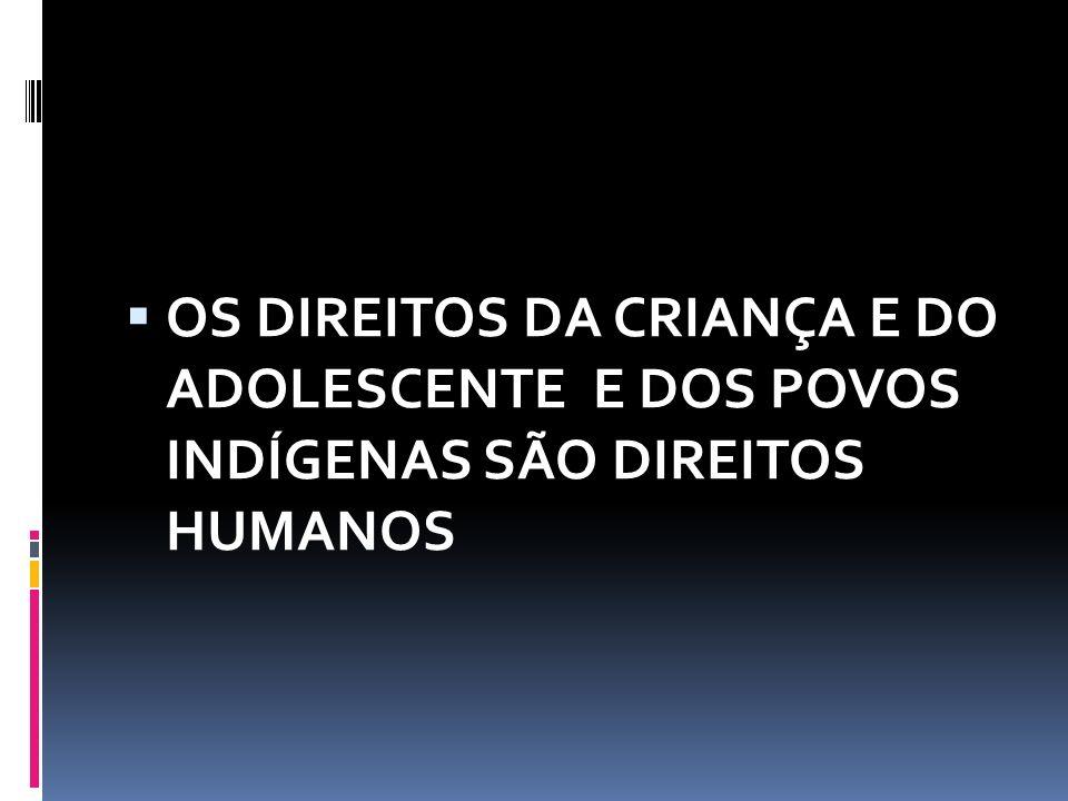  OS DIREITOS DA CRIANÇA E DO ADOLESCENTE E DOS POVOS INDÍGENAS SÃO DIREITOS HUMANOS