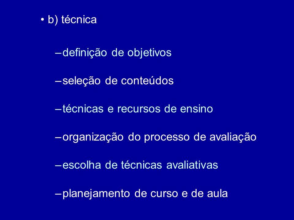 b) técnica –definição de objetivos –seleção de conteúdos –técnicas e recursos de ensino –organização do processo de avaliação –escolha de técnicas avaliativas –planejamento de curso e de aula