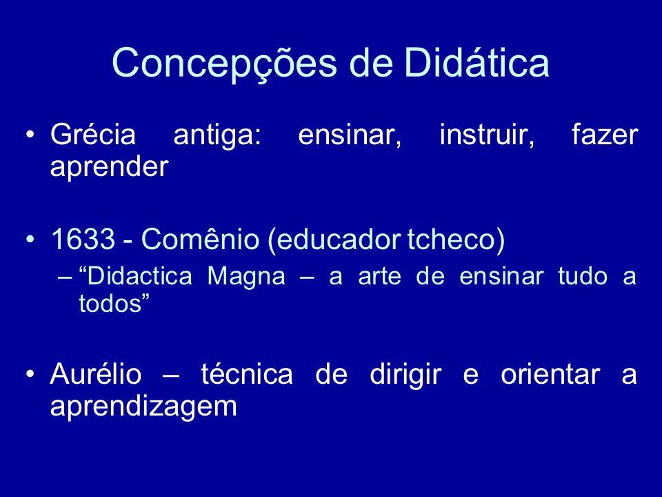 Concepções de Didática Grécia antiga: ensinar, instruir, fazer aprender 1633 - Comênio (educador tcheco) – Didactica Magna – a arte de ensinar tudo a todos Aurélio – técnica de dirigir e orientar a aprendizagem
