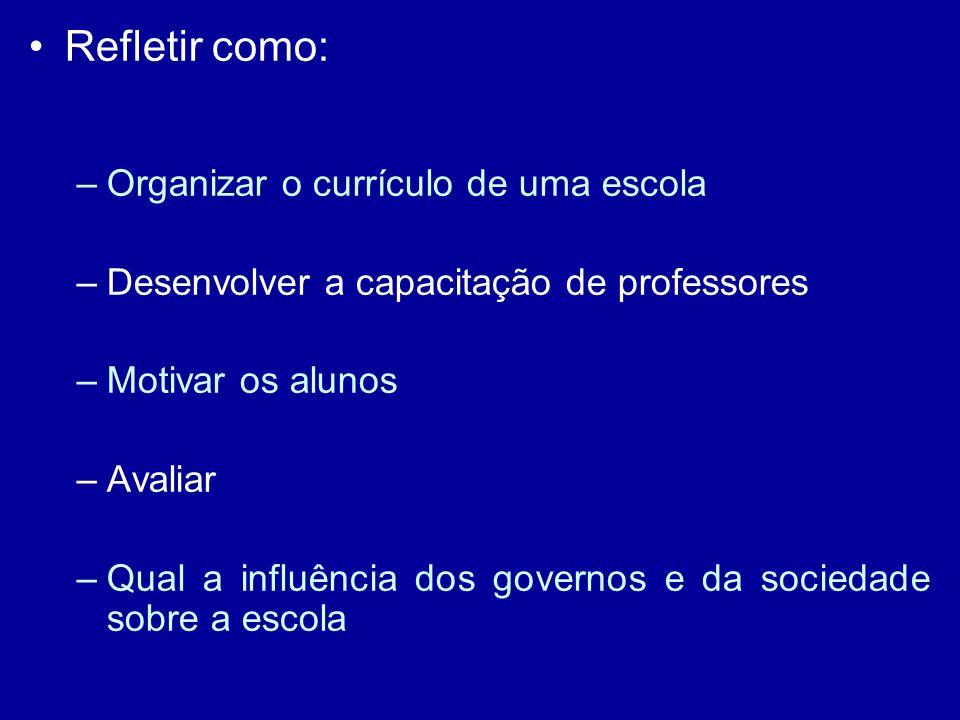 Refletir como: –Organizar o currículo de uma escola –Desenvolver a capacitação de professores –Motivar os alunos –Avaliar –Qual a influência dos governos e da sociedade sobre a escola