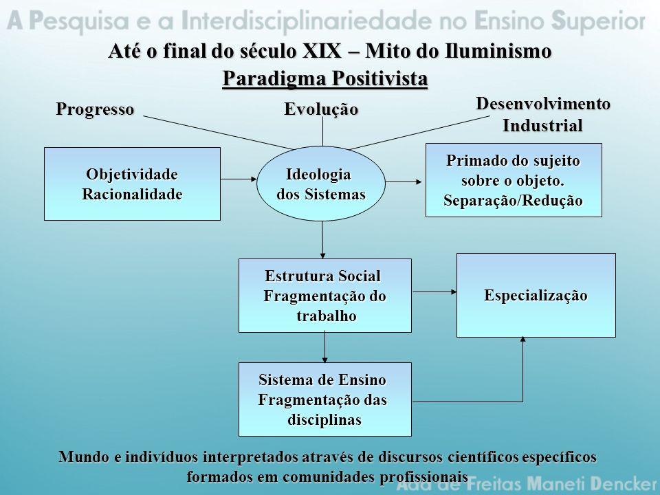Até o final do século XIX – Mito do Iluminismo Paradigma Positivista ProgressoEvoluçãoDesenvolvimentoIndustrialObjetividadeRacionalidade Primado do sujeito sobre o objeto.