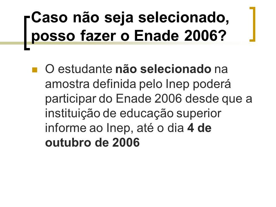 Caso não seja selecionado, posso fazer o Enade 2006.