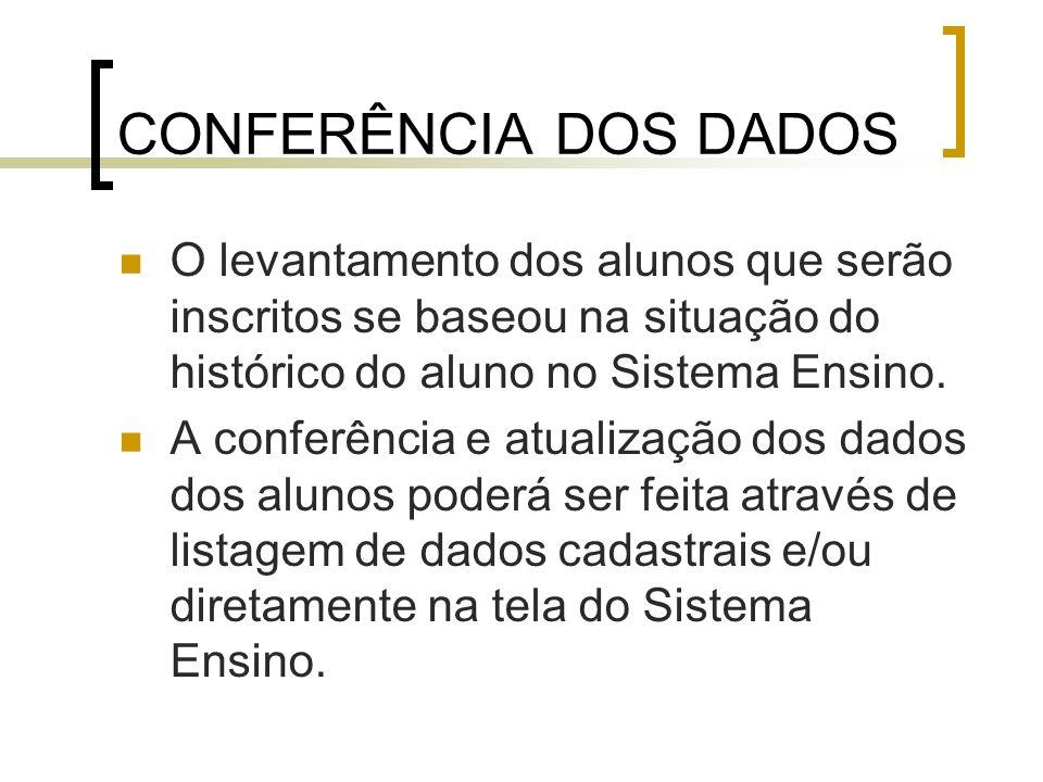 CONFERÊNCIA DOS DADOS O levantamento dos alunos que serão inscritos se baseou na situação do histórico do aluno no Sistema Ensino.