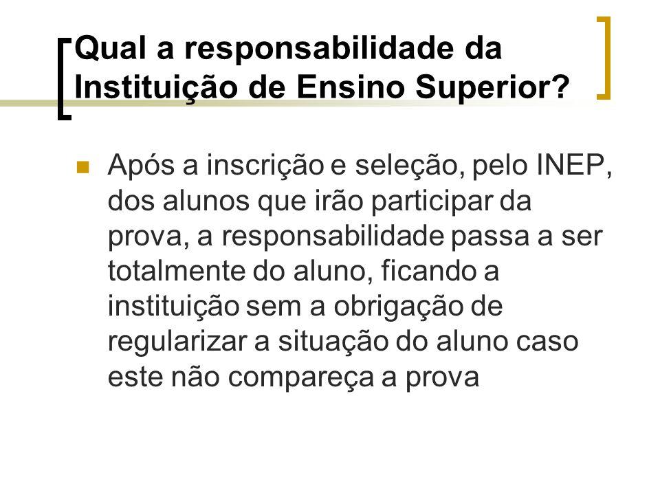 Qual a responsabilidade da Instituição de Ensino Superior.