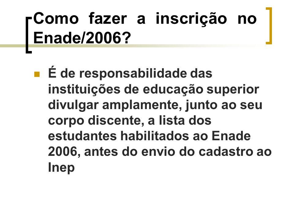 Como fazer a inscrição no Enade/2006.