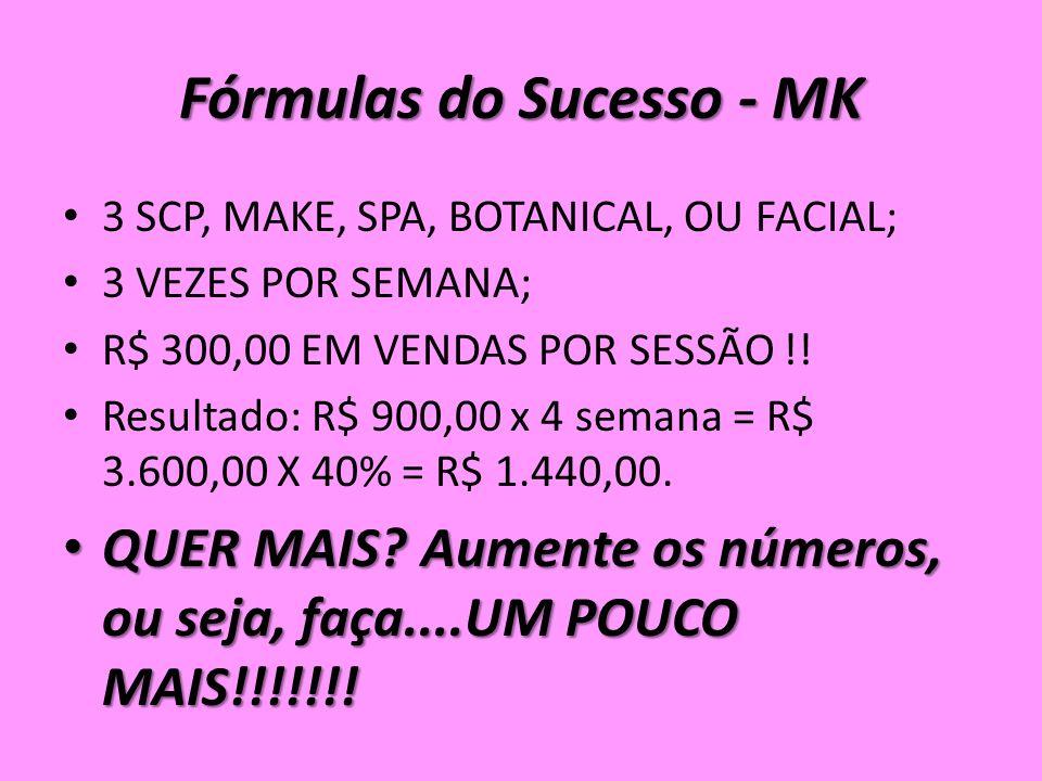 Fórmulas do Sucesso - MK 3 SCP, MAKE, SPA, BOTANICAL, OU FACIAL; 3 VEZES POR SEMANA; R$ 300,00 EM VENDAS POR SESSÃO !.