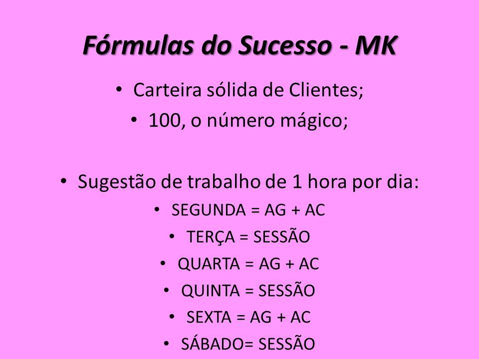 Fórmulas do Sucesso - MK Carteira sólida de Clientes; 100, o número mágico; Sugestão de trabalho de 1 hora por dia: SEGUNDA = AG + AC TERÇA = SESSÃO QUARTA = AG + AC QUINTA = SESSÃO SEXTA = AG + AC SÁBADO= SESSÃO