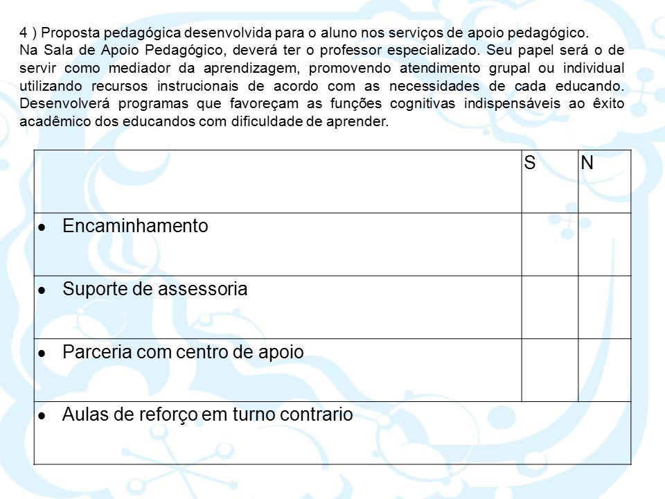 SN  Encaminhamento  Suporte de assessoria  Parceria com centro de apoio  Aulas de reforço em turno contrario 4 ) Proposta pedagógica desenvolvida