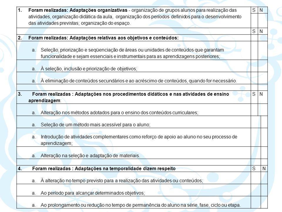 1.Foram realizadas: Adaptações organizativas - organização de grupos alunos para realização das atividades, organização didática da aula, organização