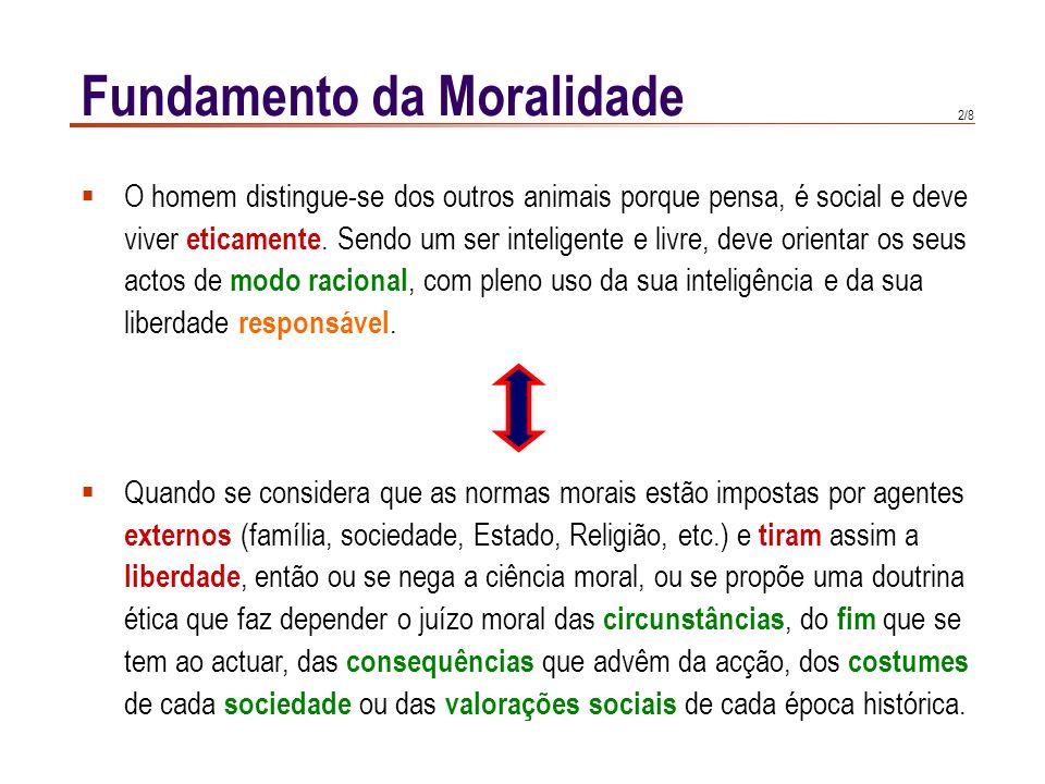2/8 Fundamento da Moralidade  O homem distingue-se dos outros animais porque pensa, é social e deve viver eticamente. Sendo um ser inteligente e livr