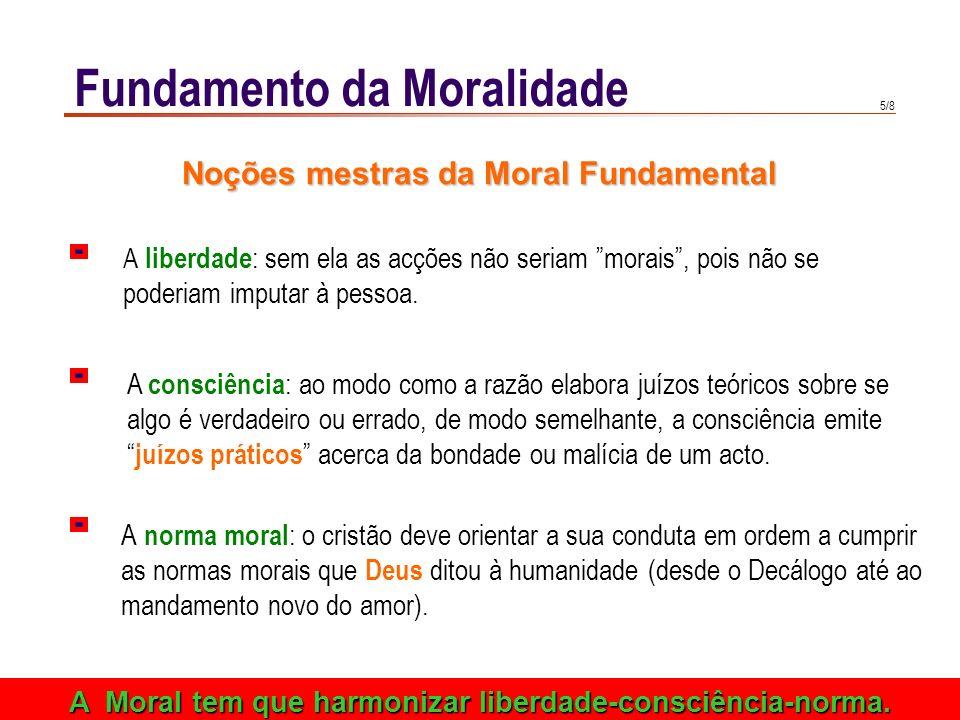 5/8 Fundamento da Moralidade A norma moral : o cristão deve orientar a sua conduta em ordem a cumprir as normas morais que Deus ditou à humanidade (desde o Decálogo até ao mandamento novo do amor).