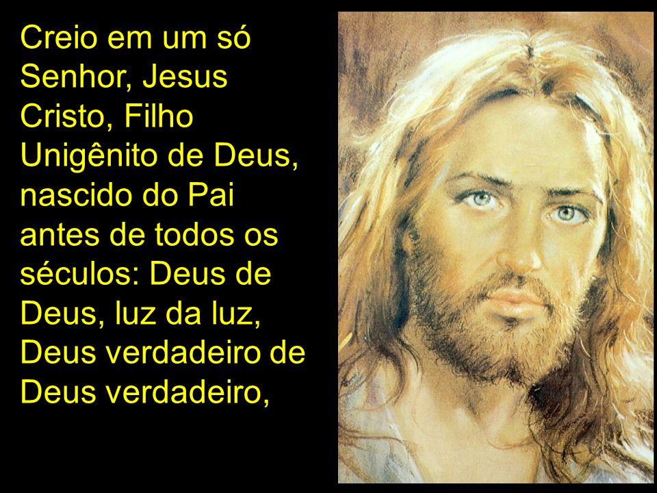 Creio em um só Senhor, Jesus Cristo, Filho Unigênito de Deus, nascido do Pai antes de todos os séculos: Deus de Deus, luz da luz, Deus verdadeiro de Deus verdadeiro,