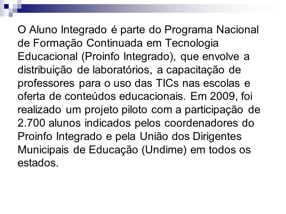 O Aluno Integrado é parte do Programa Nacional de Formação Continuada em Tecnologia Educacional (Proinfo Integrado), que envolve a distribuição de laboratórios, a capacitação de professores para o uso das TICs nas escolas e oferta de conteúdos educacionais.