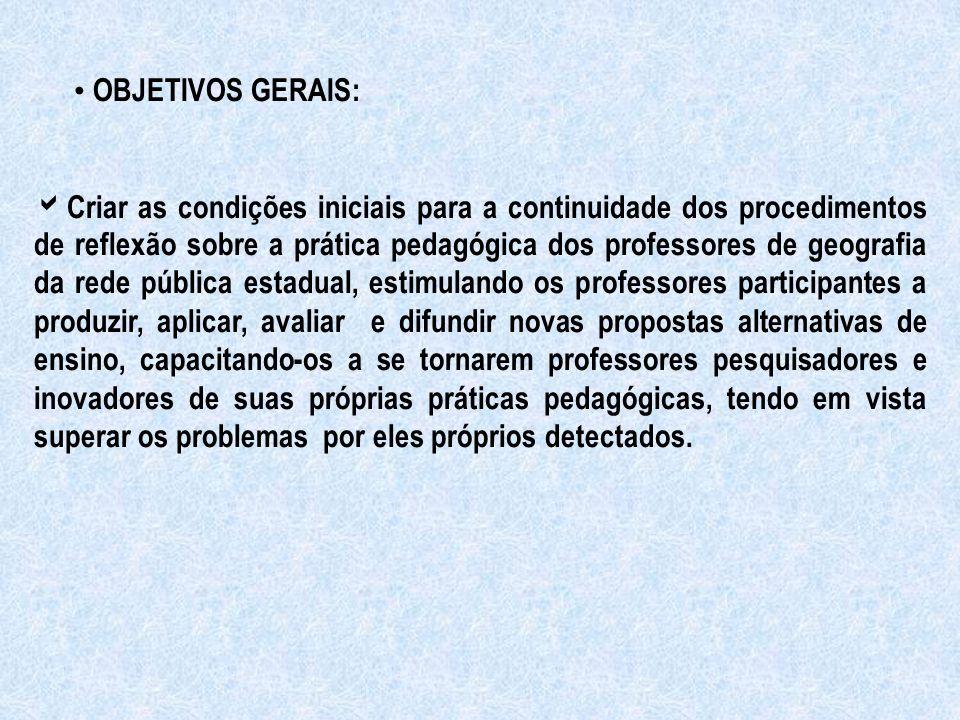 OBJETIVOS GERAIS:  Criar as condições iniciais para a continuidade dos procedimentos de reflexão sobre a prática pedagógica dos professores de geogra