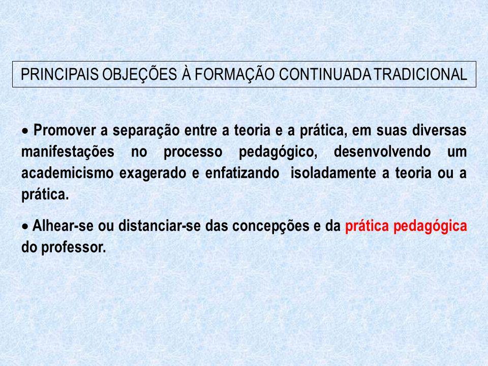 PRINCIPAIS OBJEÇÕES À FORMAÇÃO CONTINUADA TRADICIONAL  Promover a separação entre a teoria e a prática, em suas diversas manifestações no processo pe