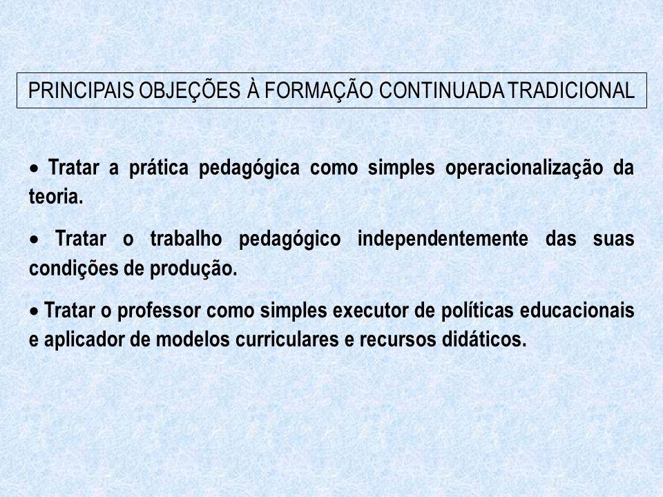 PRINCIPAIS OBJEÇÕES À FORMAÇÃO CONTINUADA TRADICIONAL  Tratar a prática pedagógica como simples operacionalização da teoria.  Tratar o trabalho pe