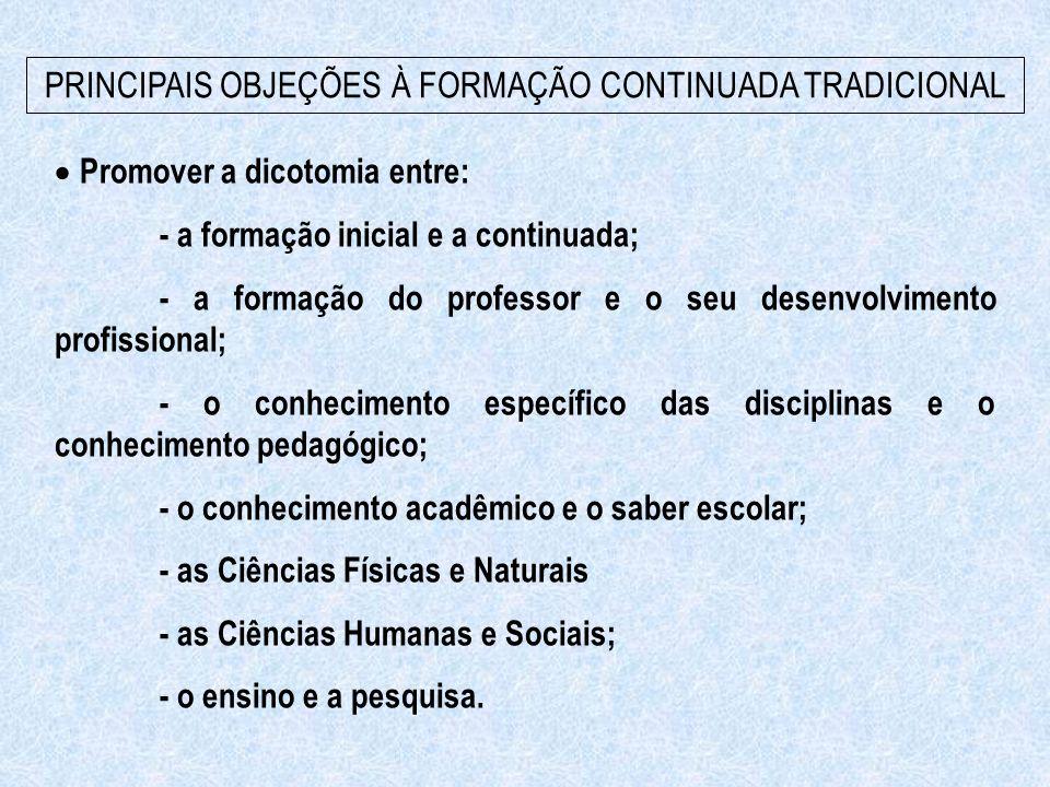 Promover a dicotomia entre: - a formação inicial e a continuada; - a formação do professor e o seu desenvolvimento profissional; - o conhecimento es