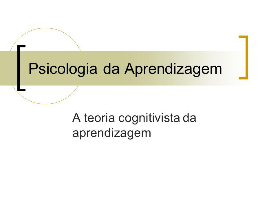 Psicologia da Aprendizagem A teoria cognitivista da aprendizagem
