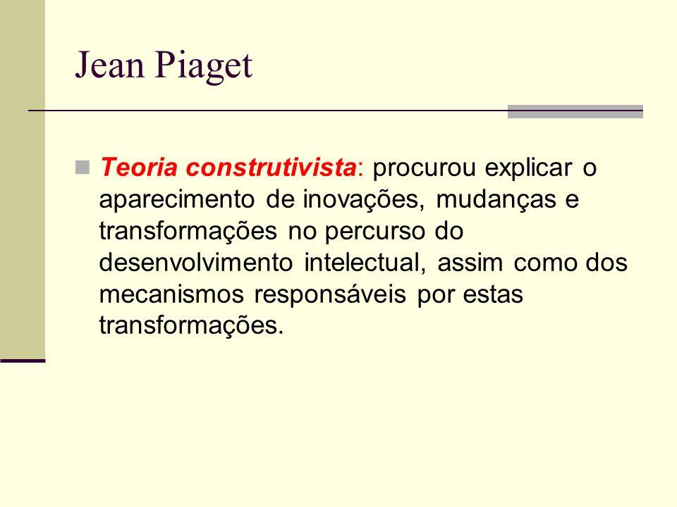 Jean Piaget Teoria construtivista: procurou explicar o aparecimento de inovações, mudanças e transformações no percurso do desenvolvimento intelectual, assim como dos mecanismos responsáveis por estas transformações.