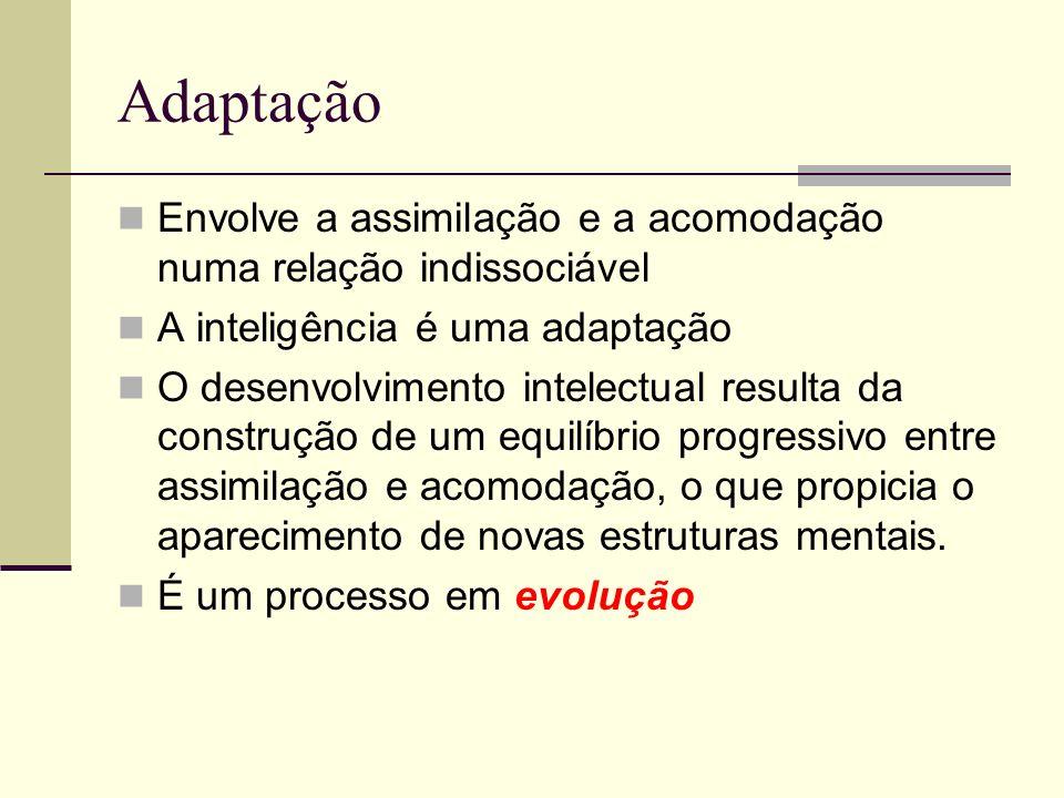 Adaptação Envolve a assimilação e a acomodação numa relação indissociável A inteligência é uma adaptação O desenvolvimento intelectual resulta da construção de um equilíbrio progressivo entre assimilação e acomodação, o que propicia o aparecimento de novas estruturas mentais.