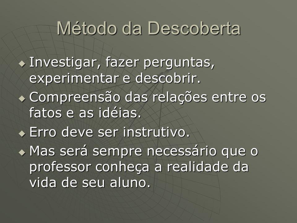 Método da Descoberta  Investigar, fazer perguntas, experimentar e descobrir.