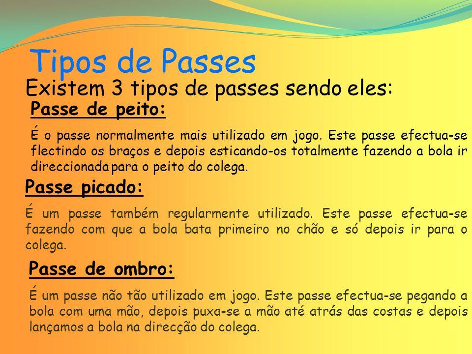 Tipos de Passes Existem 3 tipos de passes sendo eles: Passe de peito: É o passe normalmente mais utilizado em jogo.