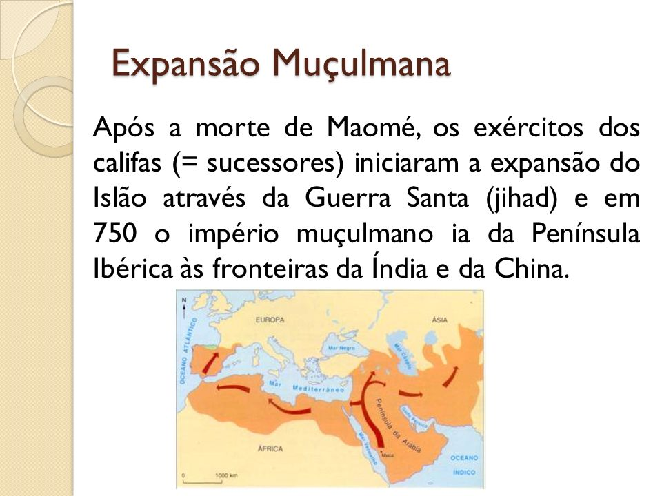Expansão Muçulmana Após a morte de Maomé, os exércitos dos califas (= sucessores) iniciaram a expansão do Islão através da Guerra Santa (jihad) e em 750 o império muçulmano ia da Península Ibérica às fronteiras da Índia e da China.