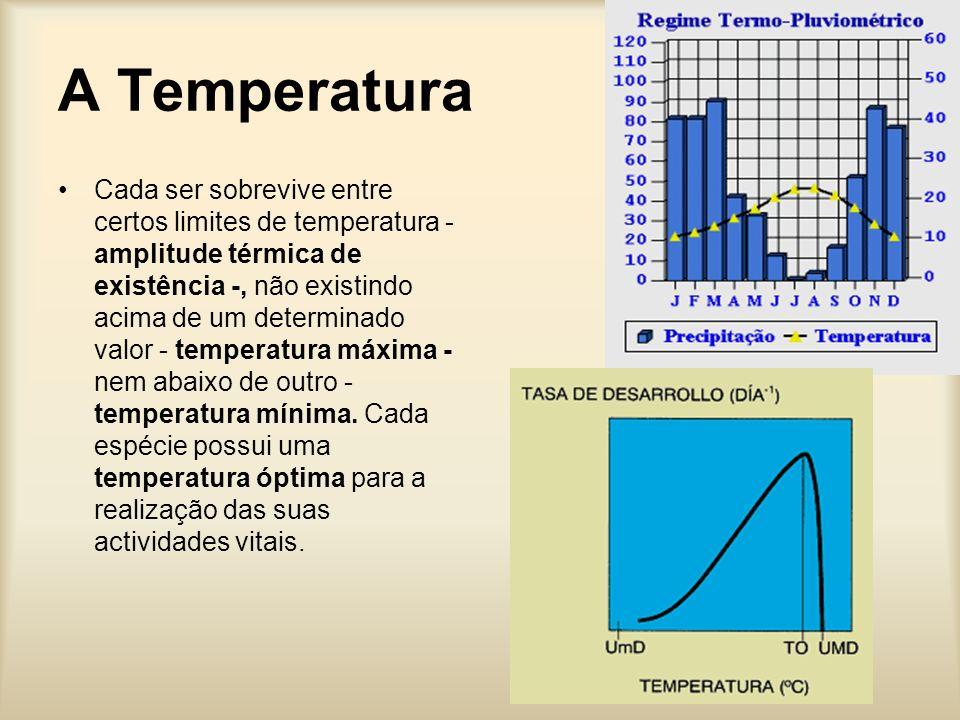 A Temperatura Cada ser sobrevive entre certos limites de temperatura - amplitude térmica de existência -, não existindo acima de um determinado valor - temperatura máxima - nem abaixo de outro - temperatura mínima.