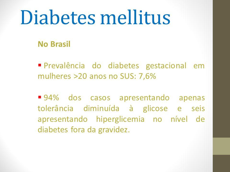 Diabetes mellitus No Brasil  Prevalência do diabetes gestacional em mulheres >20 anos no SUS: 7,6%  94% dos casos apresentando apenas tolerância dim