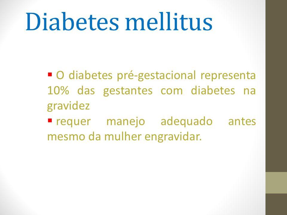 Diabetes mellitus  O diabetes pré-gestacional representa 10% das gestantes com diabetes na gravidez  requer manejo adequado antes mesmo da mulher en