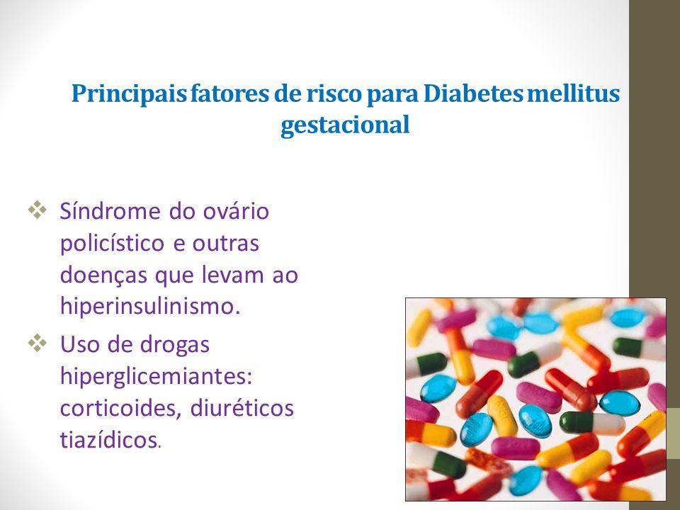 Principais fatores de risco para Diabetes mellitus gestacional  Síndrome do ovário policístico e outras doenças que levam ao hiperinsulinismo.  Uso