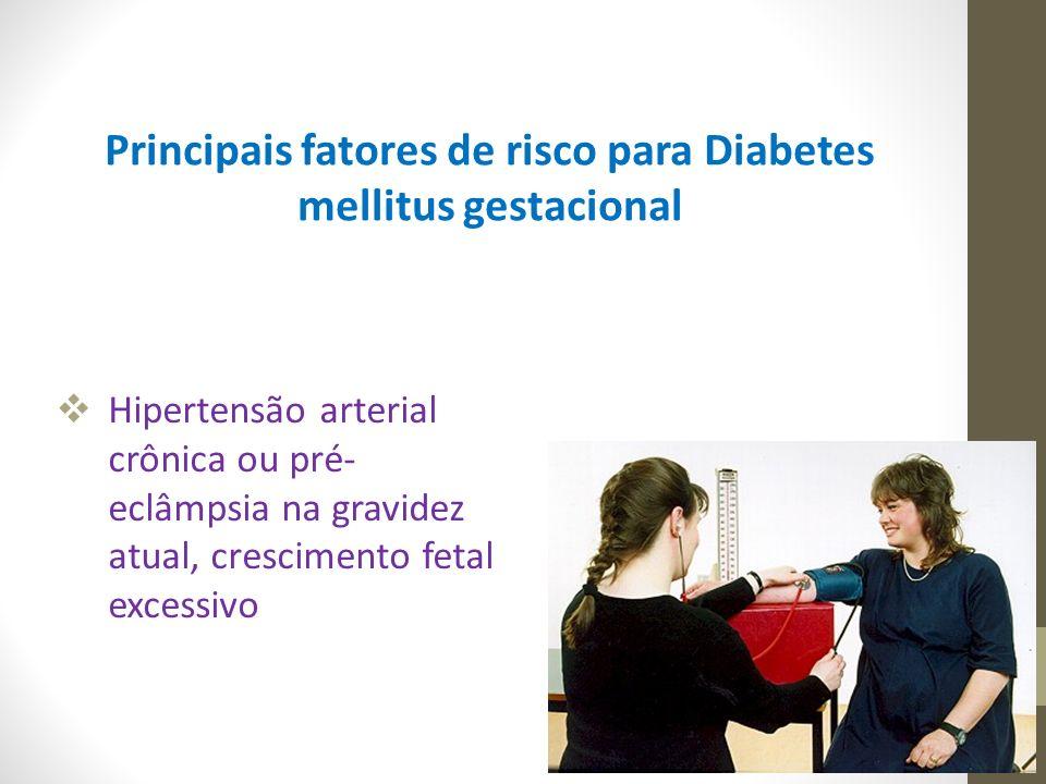  Hipertensão arterial crônica ou pré- eclâmpsia na gravidez atual, crescimento fetal excessivo Principais fatores de risco para Diabetes mellitus ges