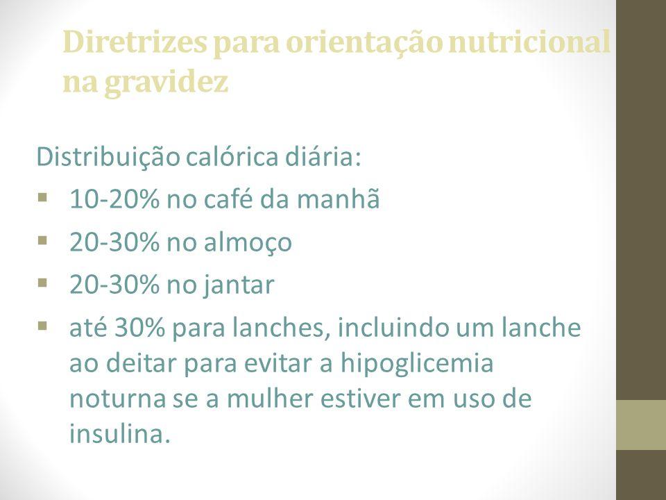 Diretrizes para orientação nutricional na gravidez Distribuição calórica diária:  10-20% no café da manhã  20-30% no almoço  20-30% no jantar  até