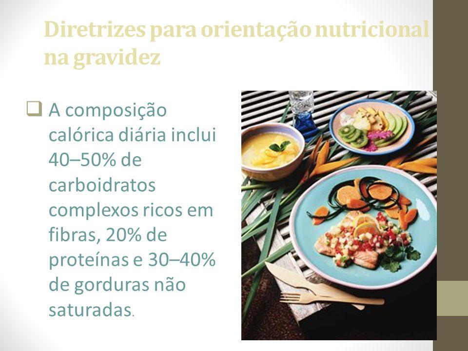 Diretrizes para orientação nutricional na gravidez  A composição calórica diária inclui 40–50% de carboidratos complexos ricos em fibras, 20% de prot