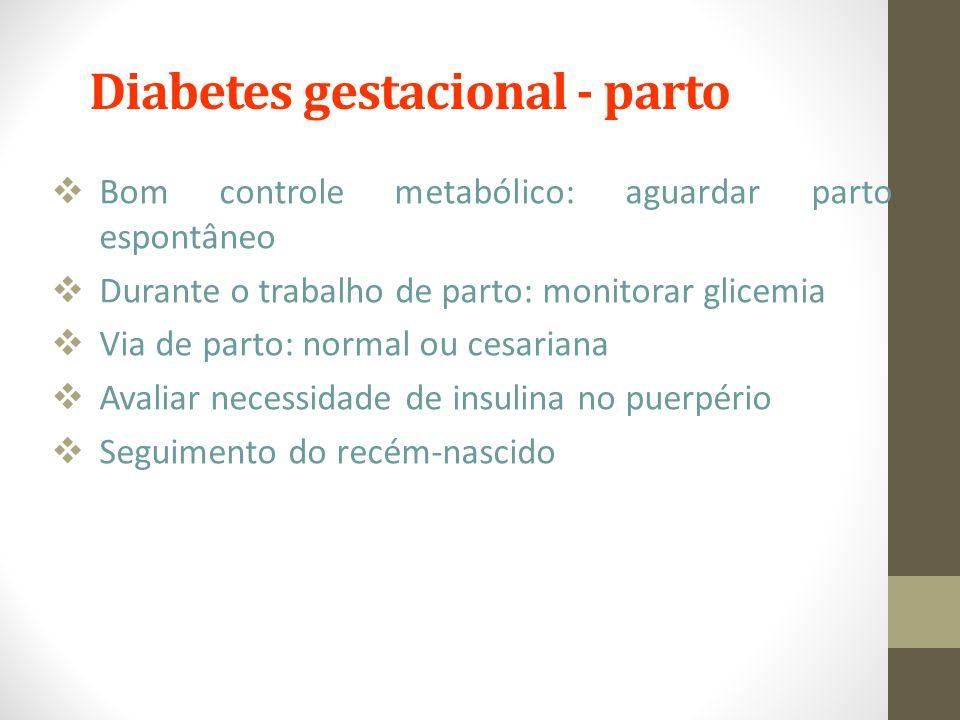 Diabetes gestacional - parto  Bom controle metabólico: aguardar parto espontâneo  Durante o trabalho de parto: monitorar glicemia  Via de parto: no