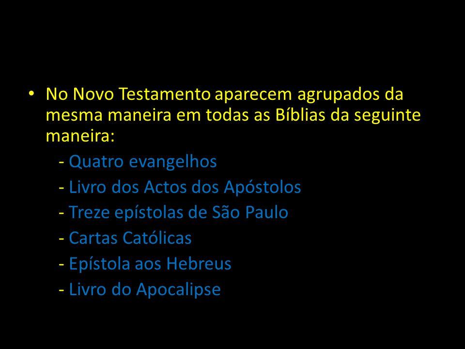 No Novo Testamento aparecem agrupados da mesma maneira em todas as Bíblias da seguinte maneira: - Quatro evangelhos - Livro dos Actos dos Apóstolos - Treze epístolas de São Paulo - Cartas Católicas - Epístola aos Hebreus - Livro do Apocalipse