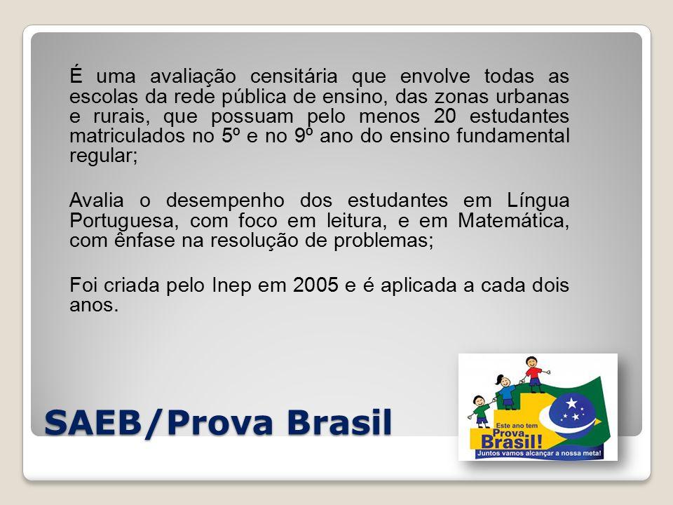 SAEB/Prova Brasil É uma avaliação censitária que envolve todas as escolas da rede pública de ensino, das zonas urbanas e rurais, que possuam pelo menos 20 estudantes matriculados no 5º e no 9º ano do ensino fundamental regular; Avalia o desempenho dos estudantes em Língua Portuguesa, com foco em leitura, e em Matemática, com ênfase na resolução de problemas; Foi criada pelo Inep em 2005 e é aplicada a cada dois anos.
