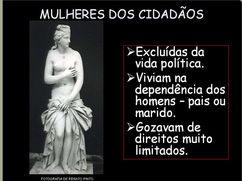 Limites da democracia ateniense Mulheres não eram cidadãs Escravos não eram cidadãos Metecos não eram cidadãos Somente homens, filhos de pai e mãe atenienses, das classes sociais, Eupátridas, Georgóis, Demiurgos e Thetas, eram cidadãos