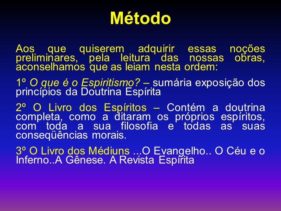 Método Aos que quiserem adquirir essas noções preliminares, pela leitura das nossas obras, aconselhamos que as leiam nesta ordem: 1º O que é o Espiritismo.