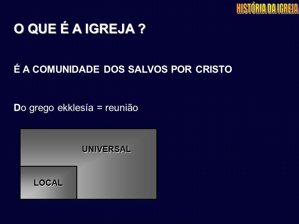 É A COMUNIDADE DOS SALVOS POR CRISTO Do grego ekklesía = reunião UNIVERSAL LOCAL
