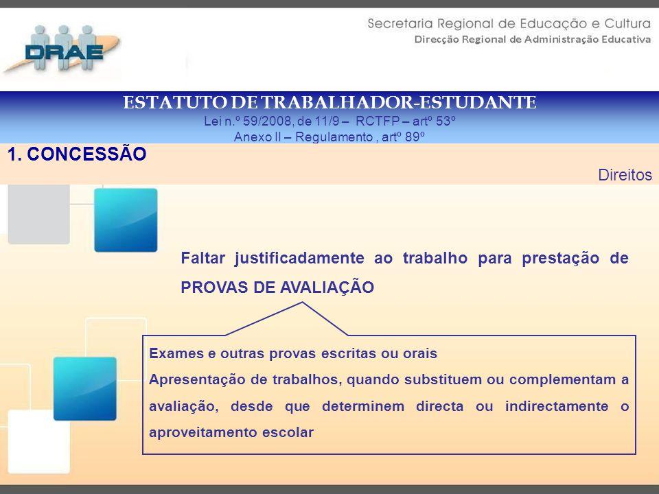 ESTATUTO DE TRABALHADOR-ESTUDANTE Lei n.º 59/2008, de 11/9 – RCTFP – artº 54º Anexo II – Regulamento, artº 91º 1.